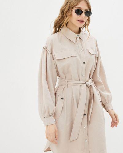 Бежевое платье-рубашка Imperial