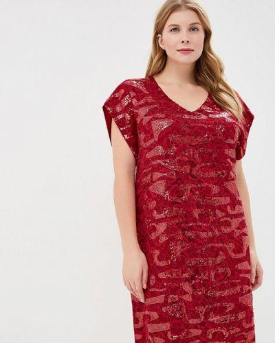 Платье мини осеннее красный Goddiva Size Plus