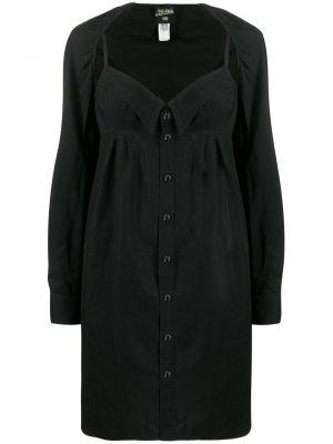 Хлопковое черное платье на пуговицах с вырезом Jean Paul Gaultier Pre-owned