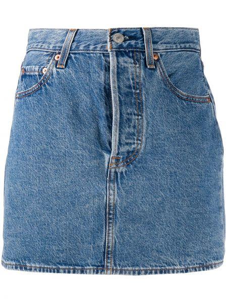 Хлопковая синяя прямая джинсовая юбка Levi's®