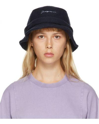 Wełniany biały kapelusz prążkowany z haftem Jacquemus