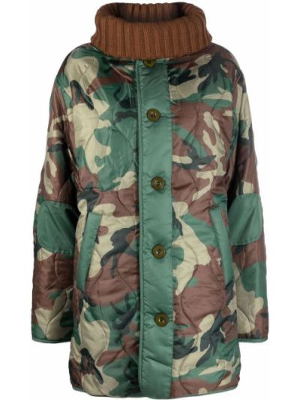 Зеленое пальто из искусственного меха Semicouture