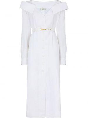 Хлопковое платье миди - белое Fendi