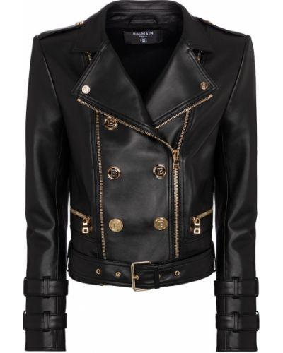 Кожаная куртка - черная Balmain