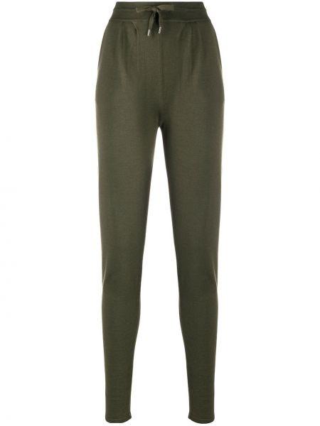 Spodnie z wysokim stanem khaki z jedwabiu Maison Ullens