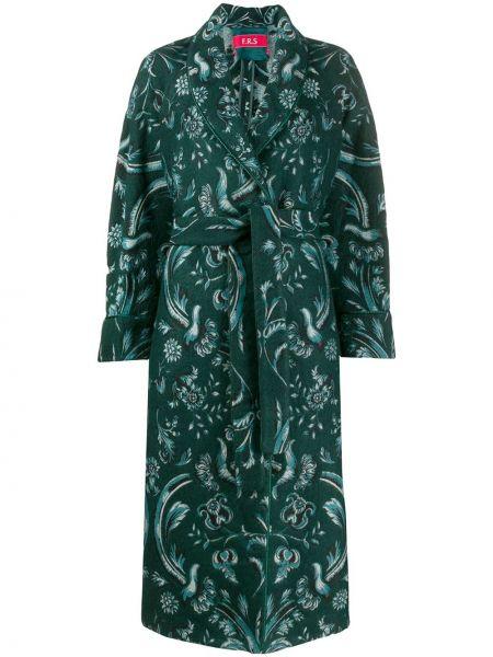 Зеленое шерстяное длинное пальто с капюшоном F.r.s For Restless Sleepers