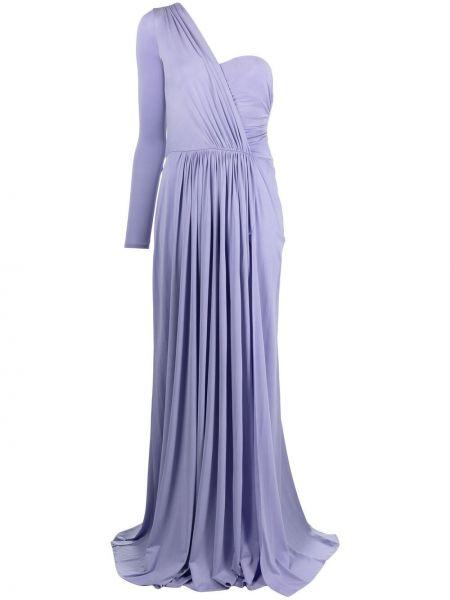 Фиолетовое платье макси на одно плечо с вырезом Elisabetta Franchi