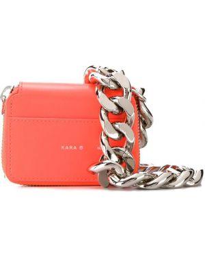 Оранжевая сумка через плечо с перьями Kara