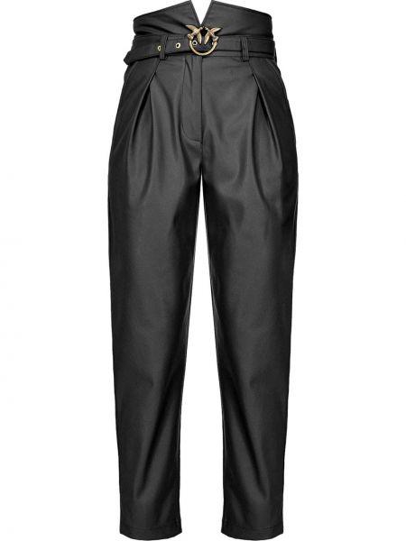 Кожаные черные брюки с поясом с высокой посадкой Pinko