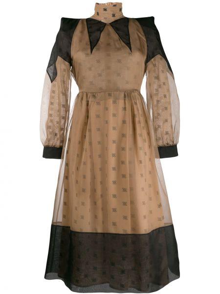 Платье приталенное с рукавами Fendi