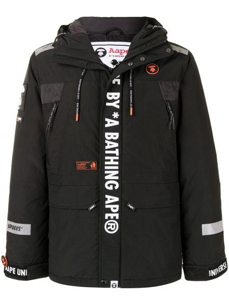 Прямое черное длинное пальто с капюшоном Aape By A Bathing Ape