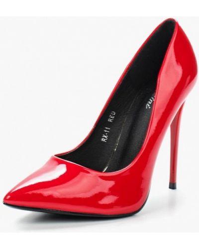 Туфли на каблуке кожаные красные Fersini