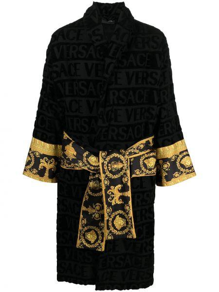 Czarny szlafrok bawełniany z printem Versace Home