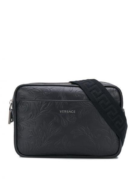Черная кожаная поясная сумка на молнии Versace