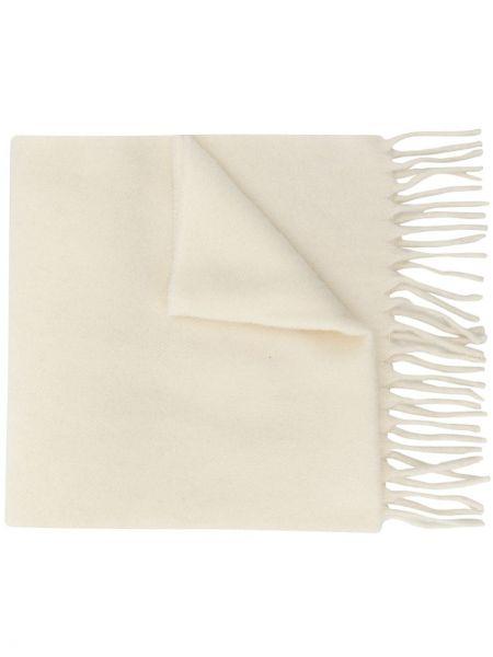 Wełniany biały trykotowy szalik przycięte Etudes