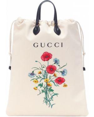 Кожаная сумка шоппер с леопардовым принтом Gucci