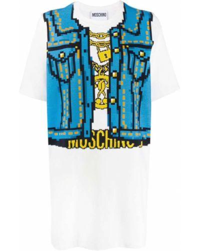 Платье мини футболка с принтом Moschino
