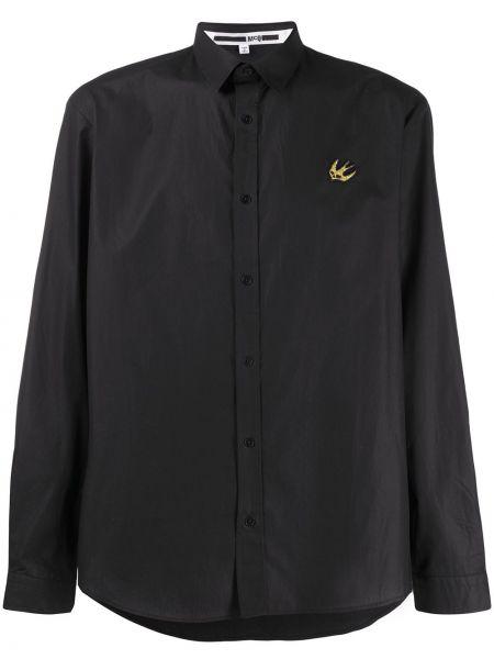Czarna klasyczna koszula bawełniana z haftem Mcq Alexander Mcqueen