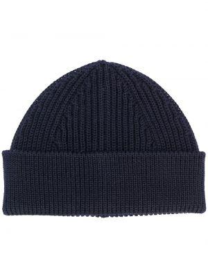 Шерстяная синяя шапка бини в рубчик с отворотом Andersen-andersen