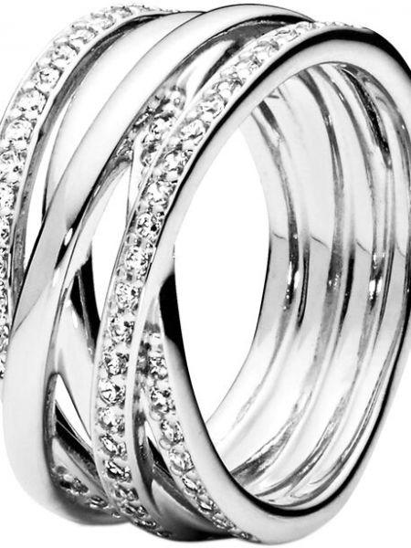 С цирконием серебряное кольцо свободного кроя Pandora