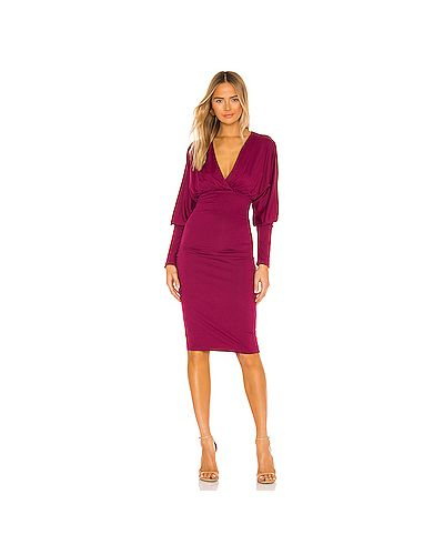 Фиолетовое трикотажное платье миди с вырезом Susana Monaco