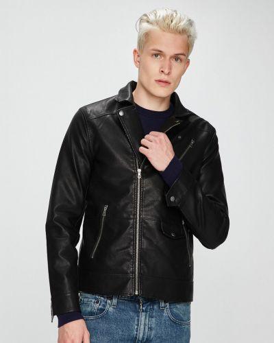Кожаная куртка укороченная прямая Only & Sons