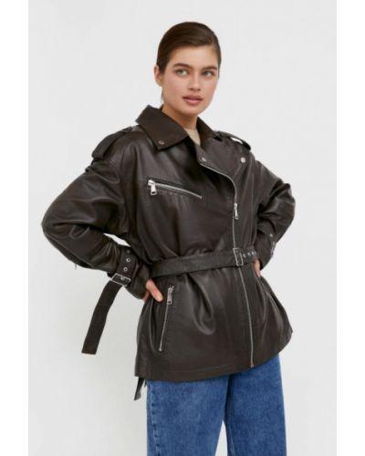 Свободная кожаная куртка хаки Finn Flare