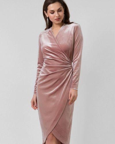 Платье миди розовое осеннее Lova