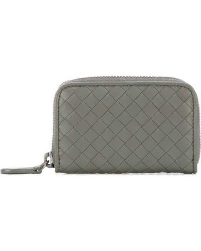 Кожаный кошелек мини серый Bottega Veneta