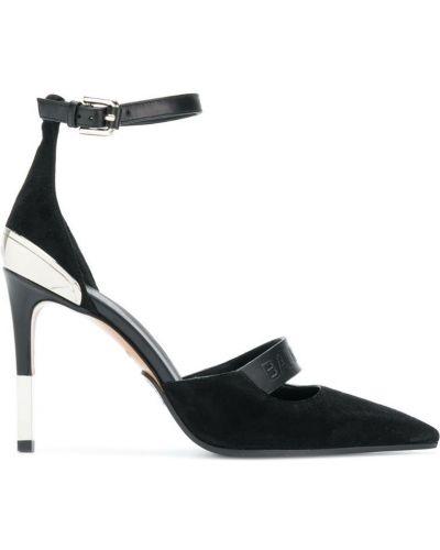 Туфли на высоком каблуке кожаные замшевые на каблуке Balmain