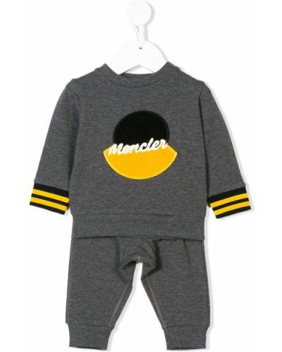 Prążkowany żółty dres bawełniany Moncler Enfant