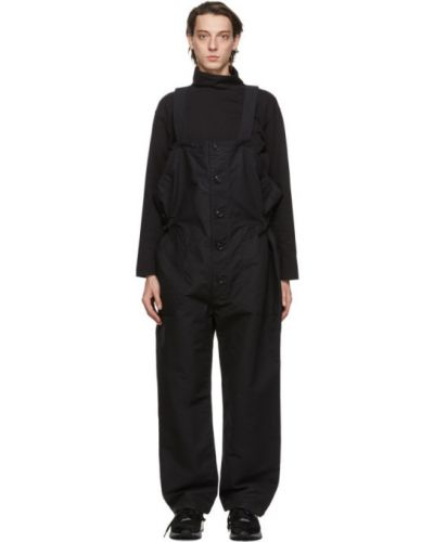 Bawełna czarny kombinezon z mankietami z paskiem Engineered Garments
