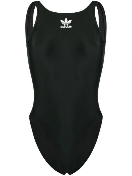 Открытый черный купальник с разрезом Adidas