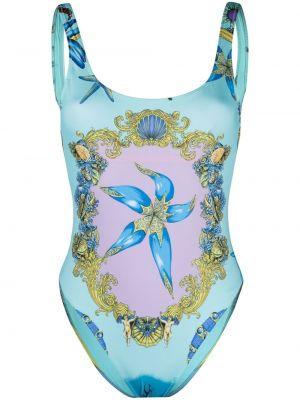 Синий пляжный открытый купальник с шортами Versace