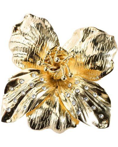 Золотистая брошь золотая с декоративной отделкой Pinko