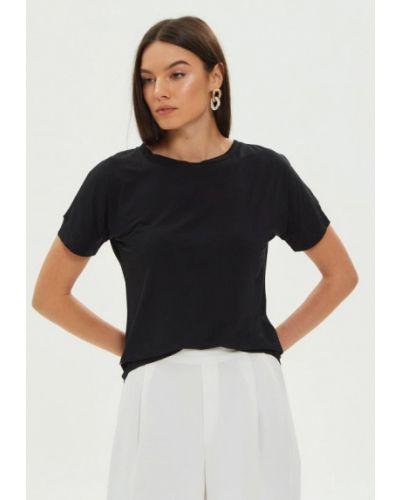 Шелковая с рукавами черная футболка Silk Me