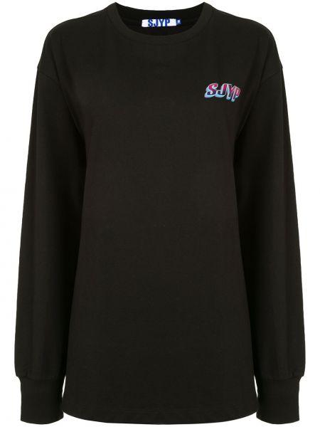 Хлопковая черная рубашка с длинными рукавами с круглым вырезом Sjyp