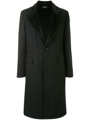 Черное прямое шерстяное пальто на пуговицах Comme Des Garçons Pre-owned