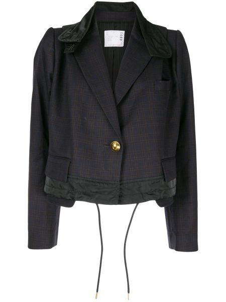 Шерстяной синий пиджак с карманами Sacai