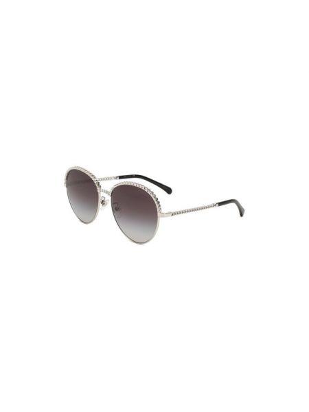 Серые солнцезащитные очки металлические Chanel