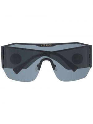 Черные солнцезащитные очки оверсайз металлические Versace Eyewear