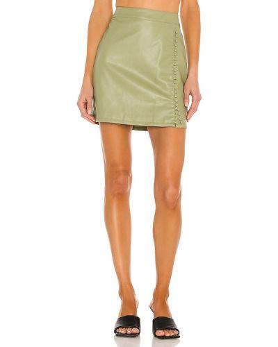 Кожаная юбка мини - синяя Kendall + Kylie