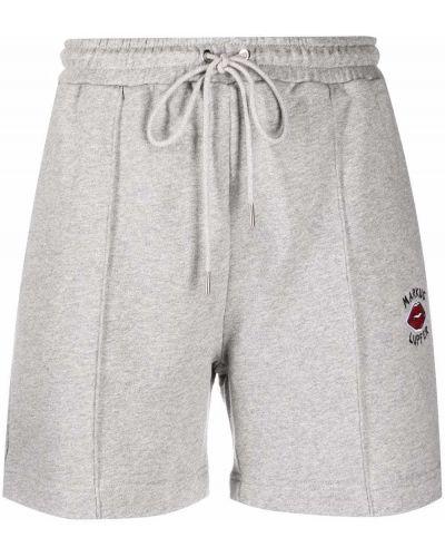 Серые хлопковые спортивные шорты с поясом Markus Lupfer