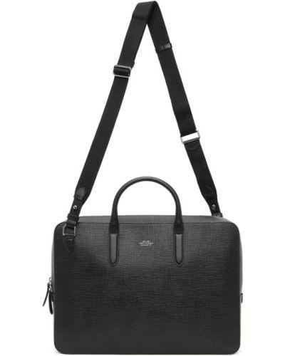 Черный кожаный портфель с карманами Smythson