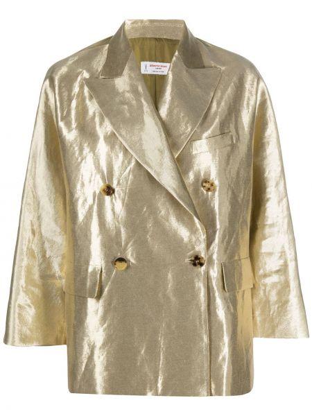 Желтый пиджак двубортный с карманами Alberto Biani