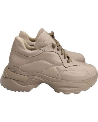 Кожаные кроссовки - бежевые Carvallio