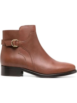 С ремешком кожаные коричневые ботинки челси на каблуке Tila March