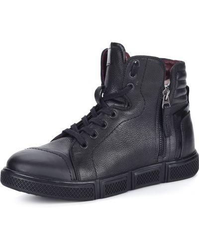 Кожаные черные высокие кеды на шнуровке Respect