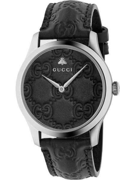 Городские с ремешком кожаные черные часы на кожаном ремешке Gucci