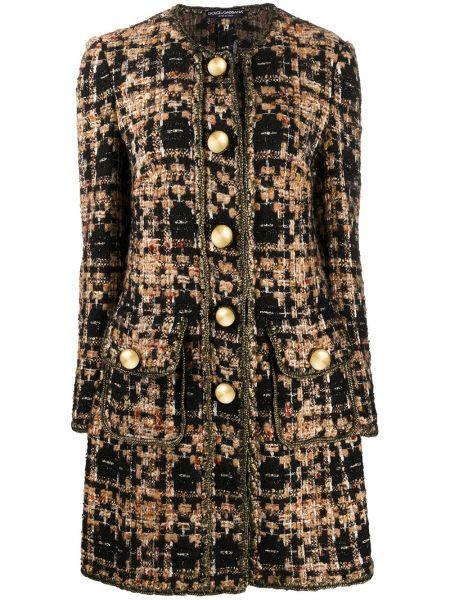 Шерстяное длинное пальто на пуговицах золотое Dolce & Gabbana